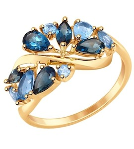 Золотое кольцо с топазами 714844