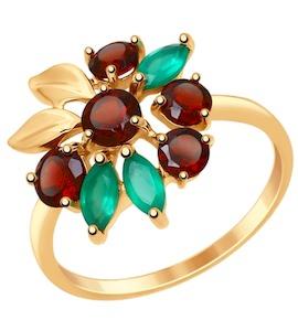 Золотое кольцо с гранатами и агатами 714846
