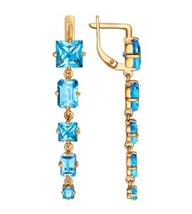 Золотые серьги с топазами и топазами 720595