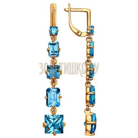 Золотые серьги с топазами и топазами 720642
