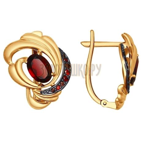 Золотые серьги с фианитами и гранатами 725013