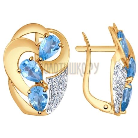 Золотые серьги с фианитами и топазами 725074