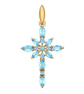 """Золотая подвеска """"крест"""" с топазами 731286"""