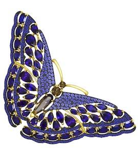 Золотая брошь с фианитами, корундами и раухтопазами 740157-2
