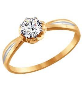 Золотое кольцо с фианитом 81010176