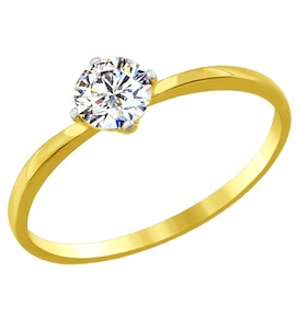 Золотое кольцо с фианитом 81010206-2