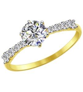 Золотое кольцо с фианитами 81010240-2