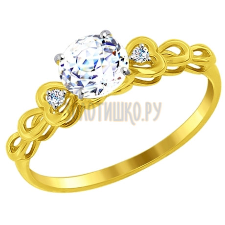 Золотое кольцо с фианитами 81010260-2