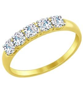 Золотое кольцо с фианитами 81010281-2