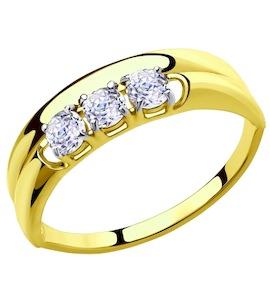 Золотое кольцо с фианитами 81010287-2
