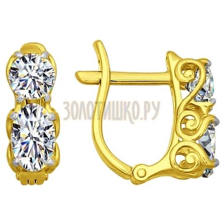 Золотые серьги с фианитами 81020204-2
