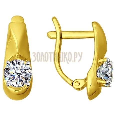 Золотые серьги с фианитами 81020220-2