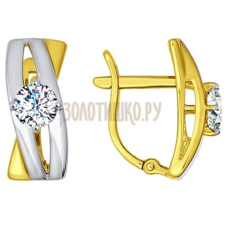 Золотые серьги с фианитами 81020235-2
