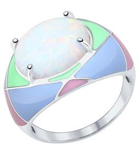 Серебряное кольцо с эмалью и опалом (синт.) 83010039