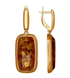 Серебряные серьги с прессованным янтарем 83020041