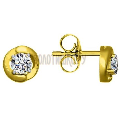 Золотые серьги с фианитами 85020193