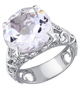 Серебряное кольцо с фианитами и горным хрусталем 92010526