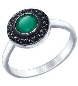 Серебряное кольцо с марказитами и агатом 92011386