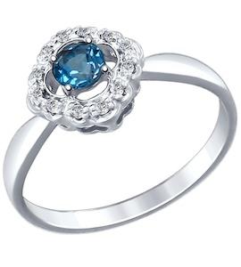 Серебряное кольцо с фианитами и топазом 92011387