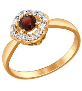 Серебряное кольцо с фианитами и гранатом 92011388