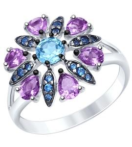Серебряное кольцо с фианитами, топазом и аметистами 92011394