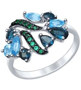 Серебряное кольцо с фианитами и топазами 92011396