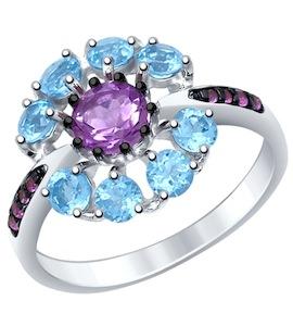 Серебряное кольцо с фианитами, топазами и аметистом 92011398