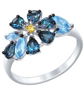 Серебряное кольцо с фианитом и топазами 92011403