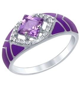 Серебряное кольцо с эмалью, фианитами и аметистом 92011405