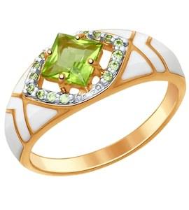 Серебряное кольцо с эмалью, фианитами и хризолитом 92011406