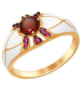 Серебряное кольцо с эмалью, фианитами и гранатом 92011407