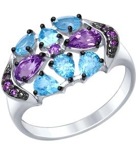 Серебряное кольцо с фианитами, топазами и аметистами 92011408