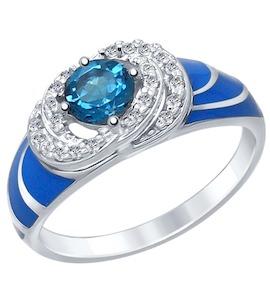 Серебряное кольцо с эмалью, фианитами и топазом 92011412