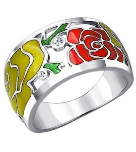 Серебряное кольцо с эмалью и фианитами 94010538