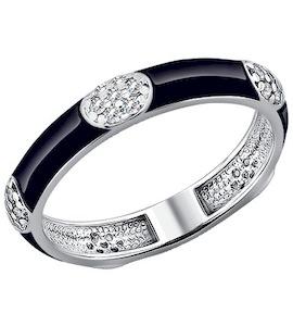 Серебряное кольцо с эмалью  и фианитами 94010547
