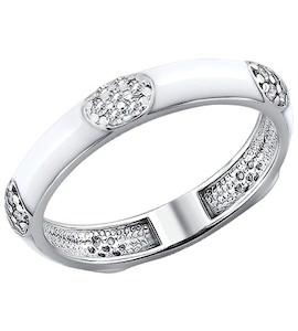 Серебряное кольцо с эмалью и фианитами 94010548