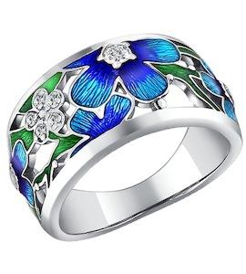 Серебряное кольцо с эмалью и фианитами 94010610