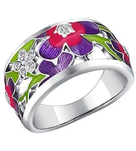 Серебряное кольцо с эмалью и фианитами 94010612