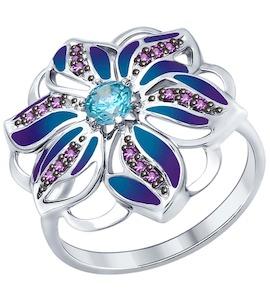Серебряное кольцо с эмалью, фианитами и фианитом 94012272