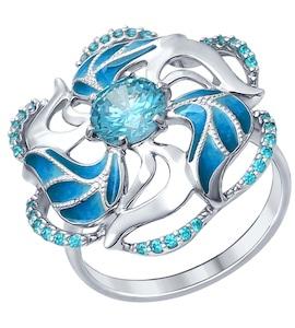 Серебряное кольцо с эмалью и фианитами 94012328