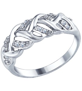 Серебряное кольцо с фианитами 94012350