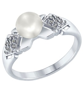 Серебряное кольцо с жемчугом и фианитами 94012352