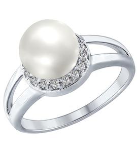 Серебряное кольцо с жемчугом и фианитами 94012353