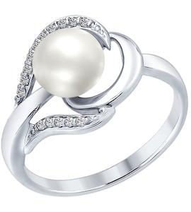 Серебряное кольцо с фианитами и жемчугом 94012557
