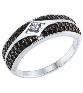 Серебряное кольцо с фианитом и фианитами 94012561