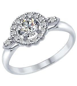 Серебряное кольцо с фианитами 94012595