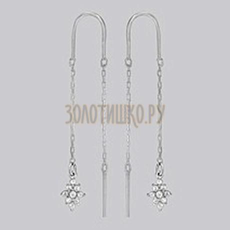Серебряные серьги с фианитами 94020562