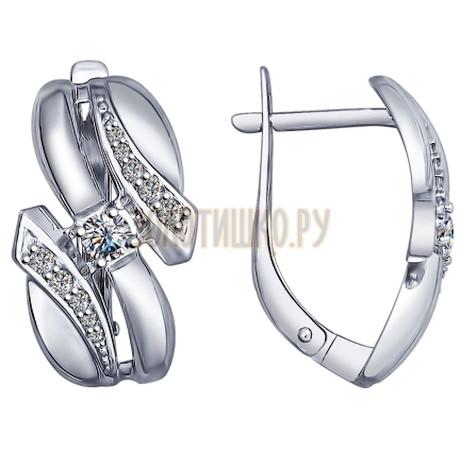 Серебряные серьги с фианитами 94022530