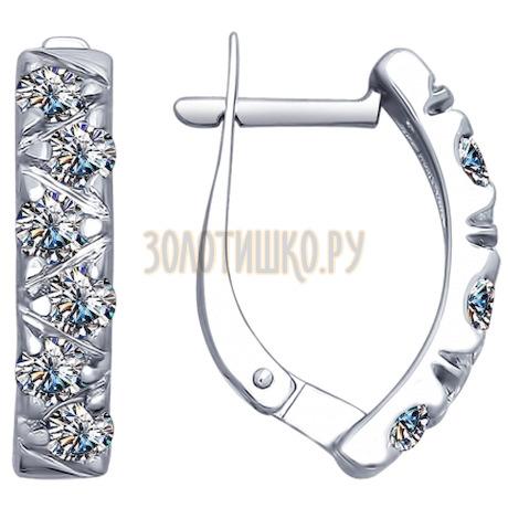 Серебряные серьги с фианитами 94022567