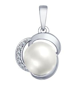 Серебряная подвеска с жемчугом и фианитами 94031872